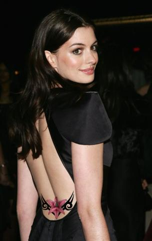 Anne Hathaway Back Body Tattoo