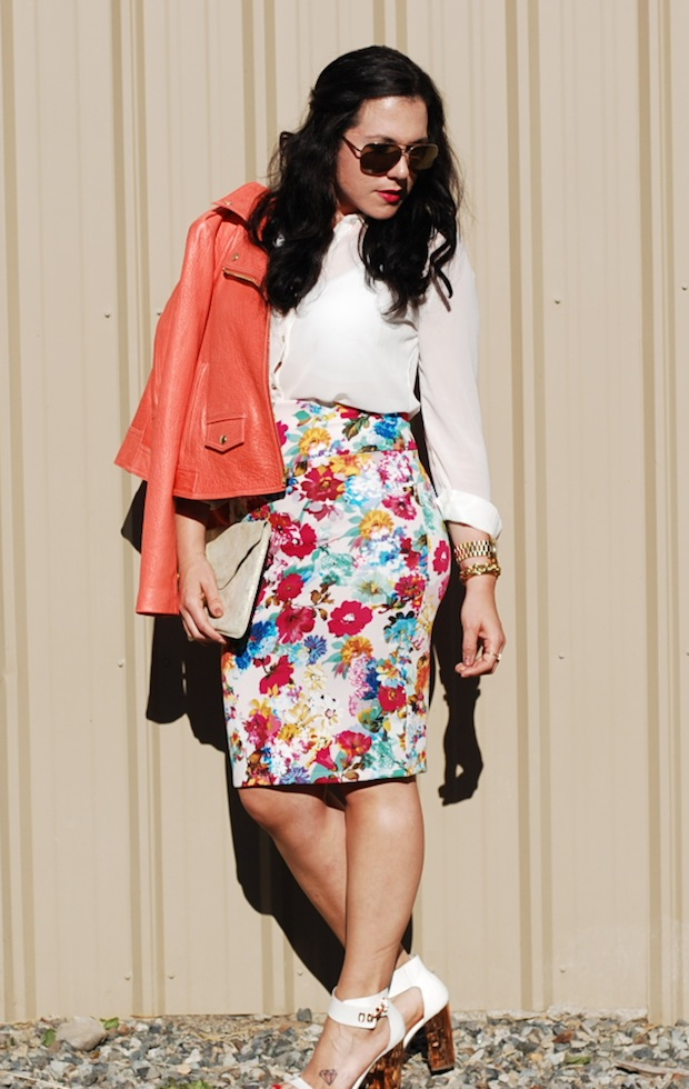 Vancouver fashion blogger,Melon leather Theory jacket, Floral pencil skirt, Topshop heels and a gold Gap clutch.