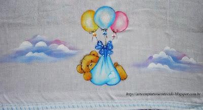 pintura infantil fralda ursinho