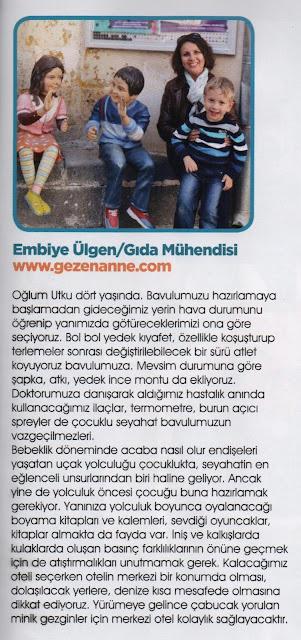 Bebeğimle Elele dergisinde GezenAnne'den seyahat tiyoları