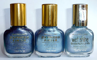 Maybelline Nail Polishes in Purple Aluminum, Blue Aluminum and Sparkling Opal