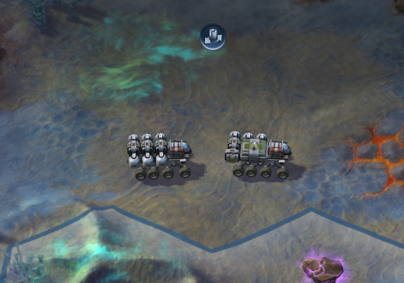 A Trade Caravan, on the move. Players can accumulate Science by trading with foreign cities. Note that Science cannot be accumulated by trading with player-owned cities.