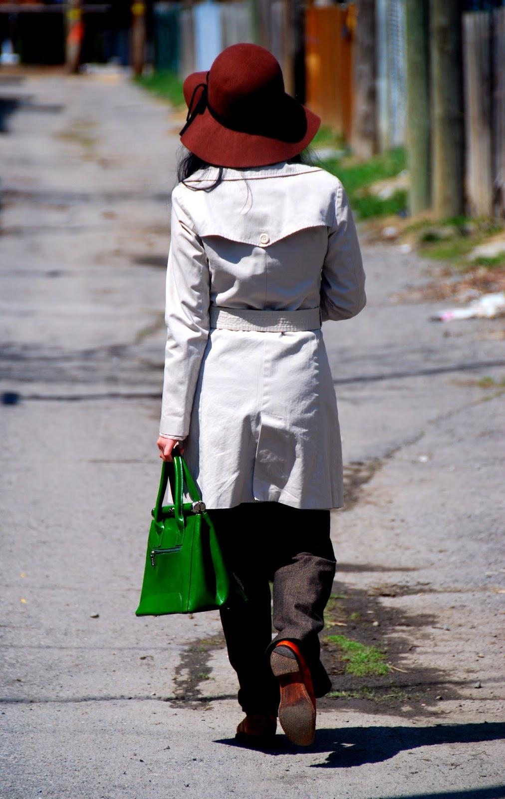 trench coat brown tweed wool trousers pants menswear oxford shoes green handbag
