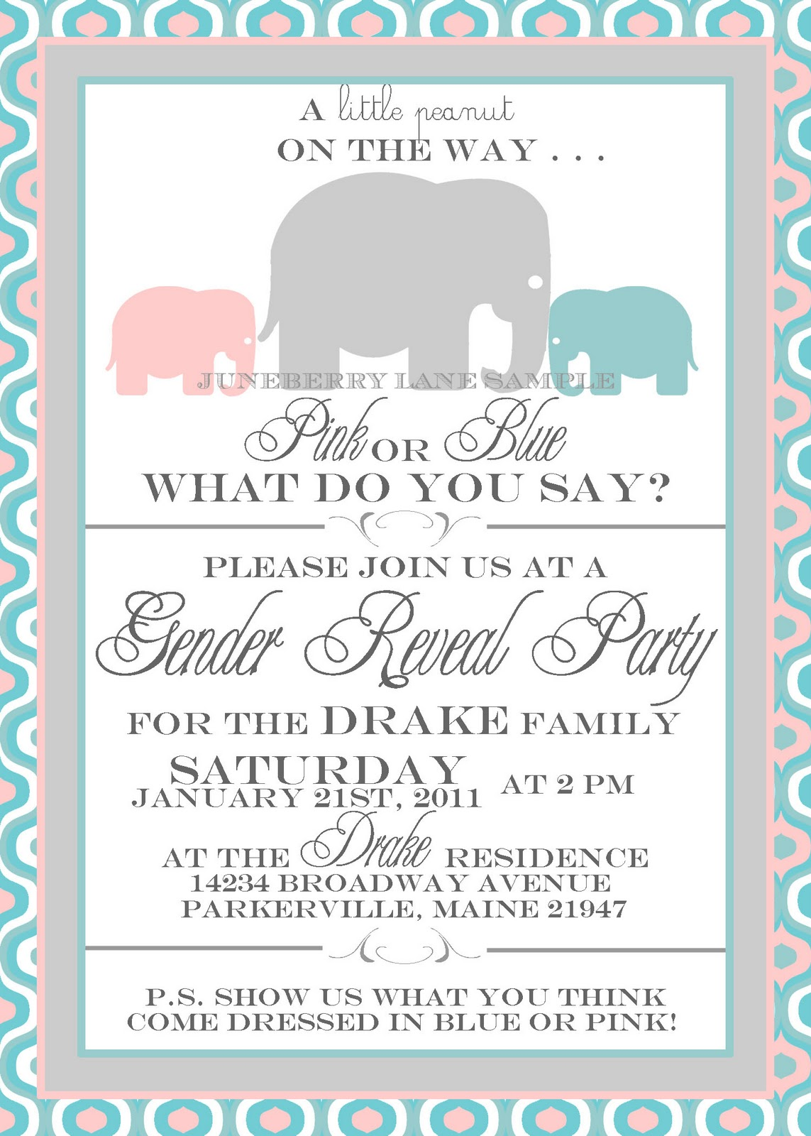 Elephant Theme Gender Reveal Party Invitation Elephant Theme – Gender Reveal Party Invite
