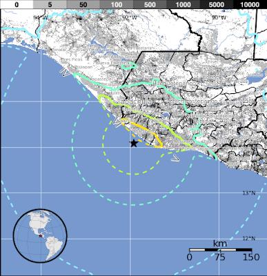 Epicentro sismo 7,5 grados en Guatemala, 07 de Noviembre 2012