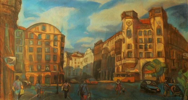 Петербург в живописи Петроградская сторона Дом с башнями