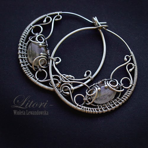 silver earrings wire-wrapping
