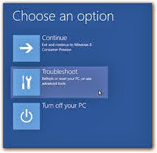 Advance settings Options Windows 8