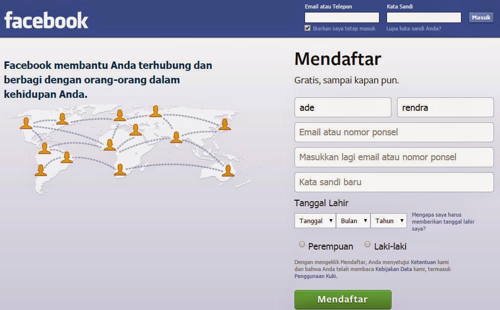 Tampilan Contoh Gambar Di Atas Adalah Dimana Pada Saat Kita Akan Mendaftar Facebook Baru Dan Jika Bagi Anda Yang Sudah Memiliki Akun Facebook Silahkan Masuk