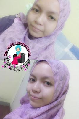 hadiah dari blogger, cara memakai shawl,shawl bercorak,shawl warna purple
