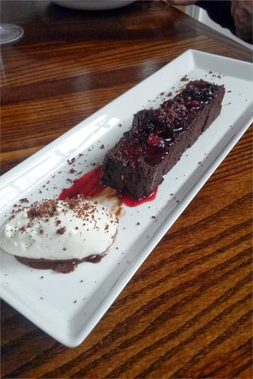 Chocolate torte with a berry compote.