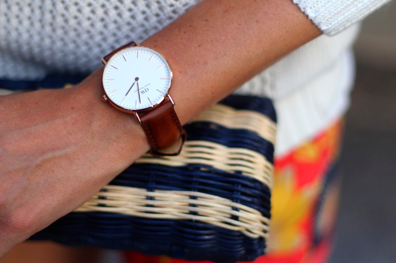 Daniel Wellington watch, summer sweater, hibiscus floral print, j.crew sweater