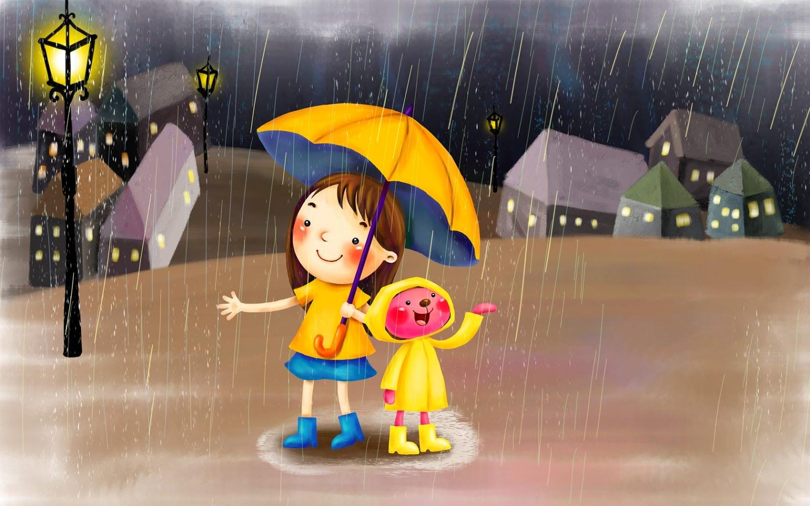 Gambar Hujan Kartun Lucu Animasi Hujan Lebat Bergerak