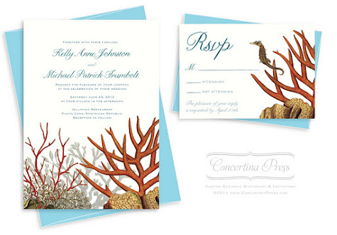 New Nautical Wedding Invitation Designs from Concertina Press Seahorses and