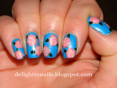 Pink Carnations Floral Manicure