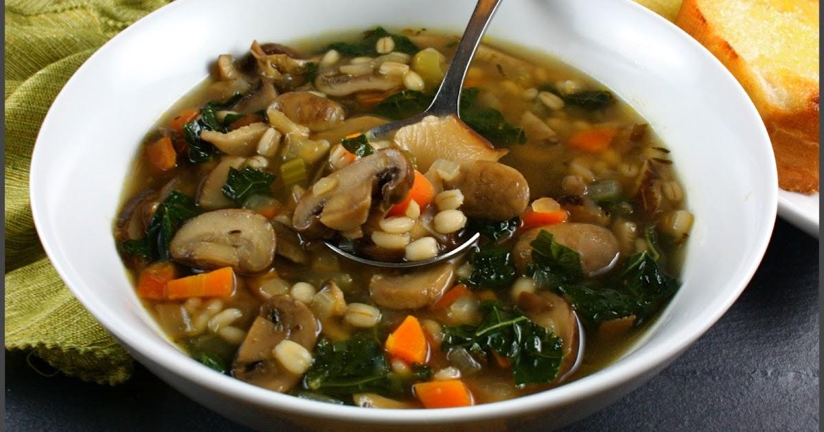 Kahakai Kitchen: Mushroom-Barley-Kale Soup: Hearty ...
