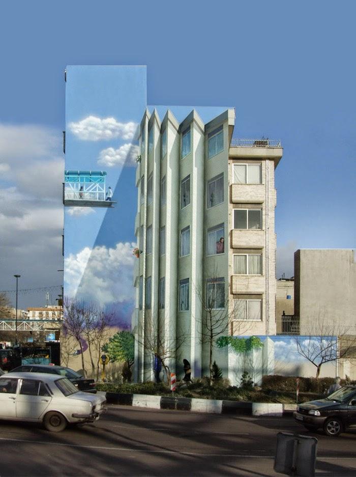 Murales en los edificios de Teheran 26