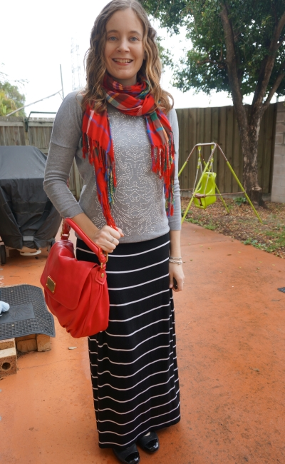 Away From Blue blog | Print mixing casual maxi skirt SAHM style outfit