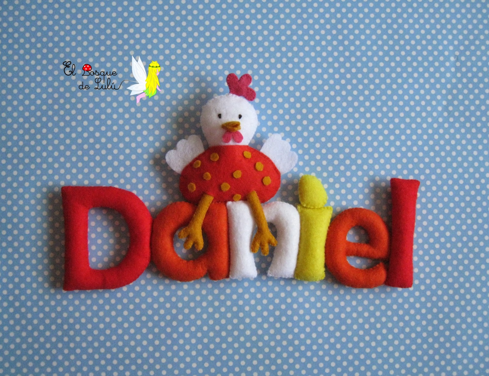 nombre-en-fieltro-de-fieltro-decoración-infantil-letrero-name-banner-felt-gallina-Daniel