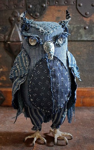 Soft Sculpture Textile Owl Art in Denim by Ann Wood