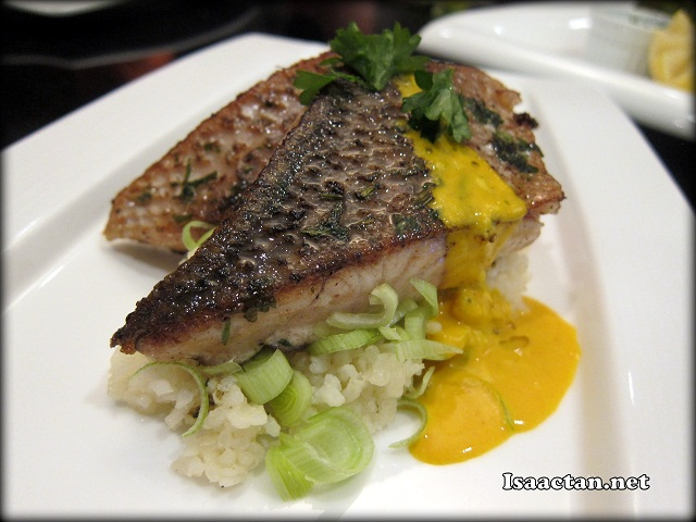 Barramundi Fish Fillet on Risotto and Slow roasted vegetables