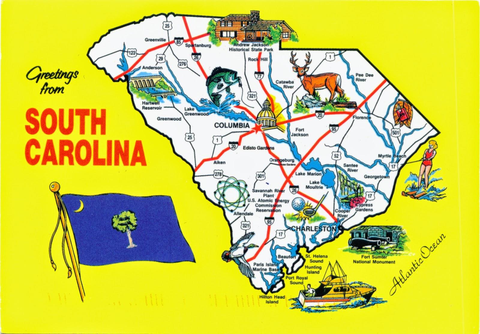 North United States  city photos : ... !: 1371 UNITED STATES South Carolina South Carolina map and flag