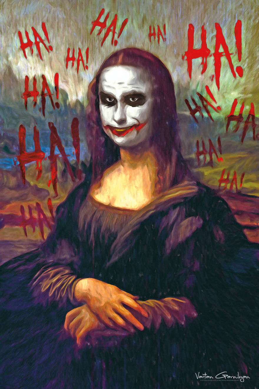 03-Mona-Lisa-Leonardo-da-Vinci-Vartan-Garnikyan-Works-of-Art-Paintings-Batman-and-Joker-Themed-www-designstack-co