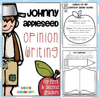 Fall writing resource Johnny Appleseed Opinion Writing Clever Classroom blog