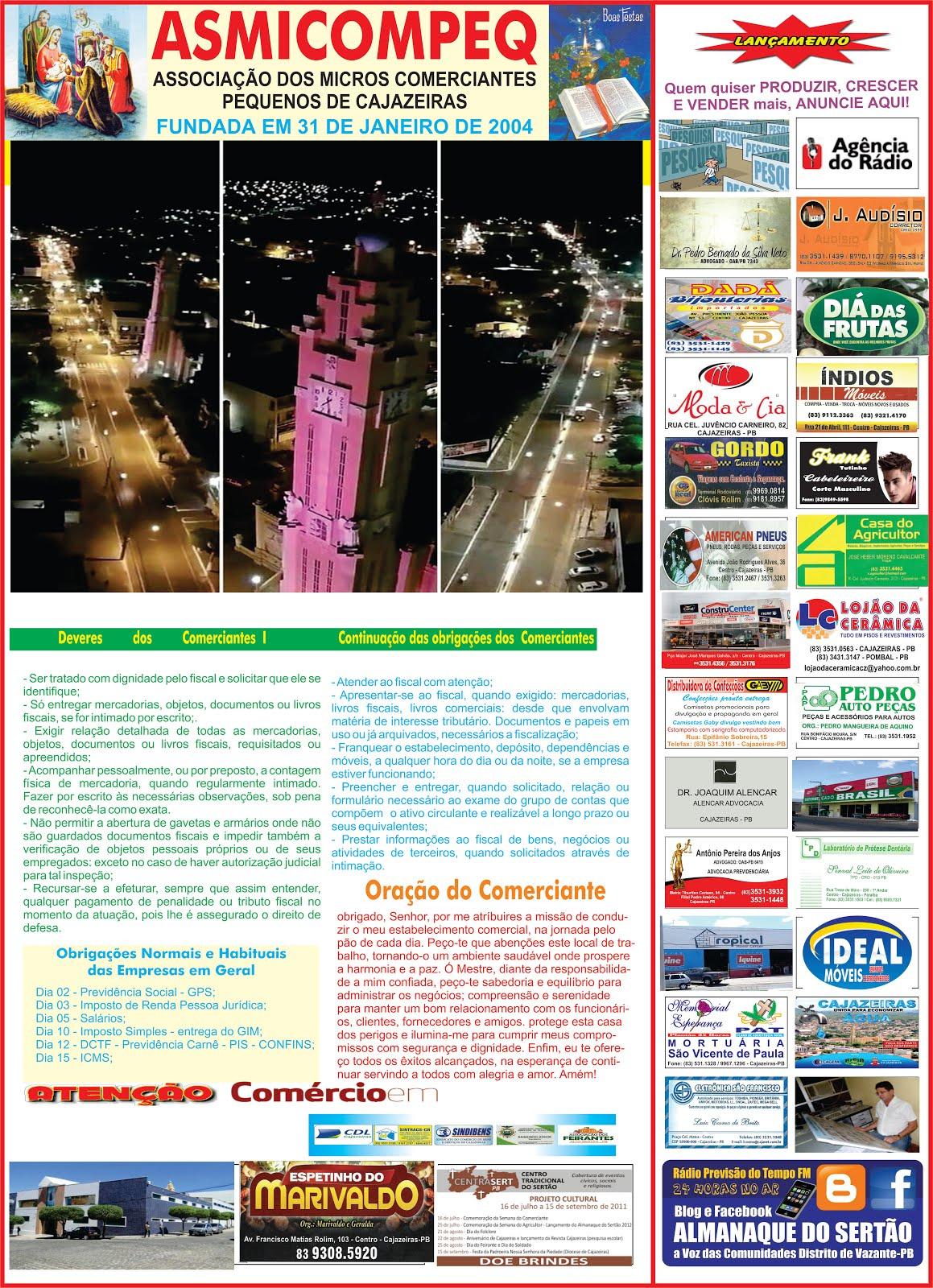 CALENDÁRIO DO COMERCIO  DE CAJAZEIRAS PB