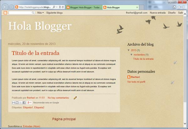 Resultado de crear una entrada nueva en Blogger