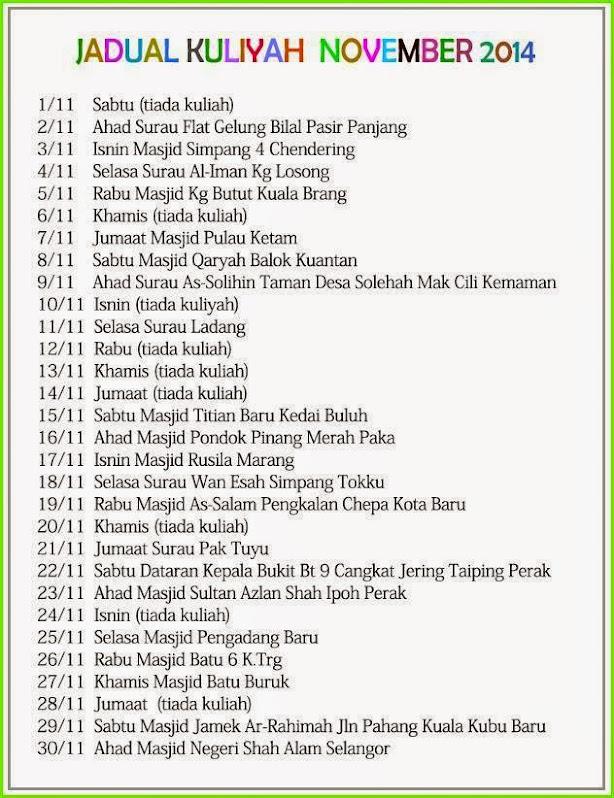 Jadual Kuliah Ustaz Azhar Idrus 2014