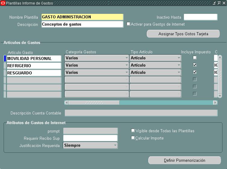 Compartiendo Tips de Oracle: Plantilla de Informes de Gastos