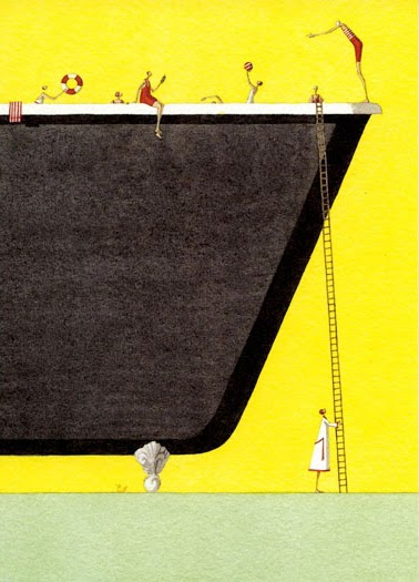 Laura Stoddart illustration of a gigantic bathtub