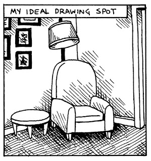 drawing of a chair in a corner with lamp and side table