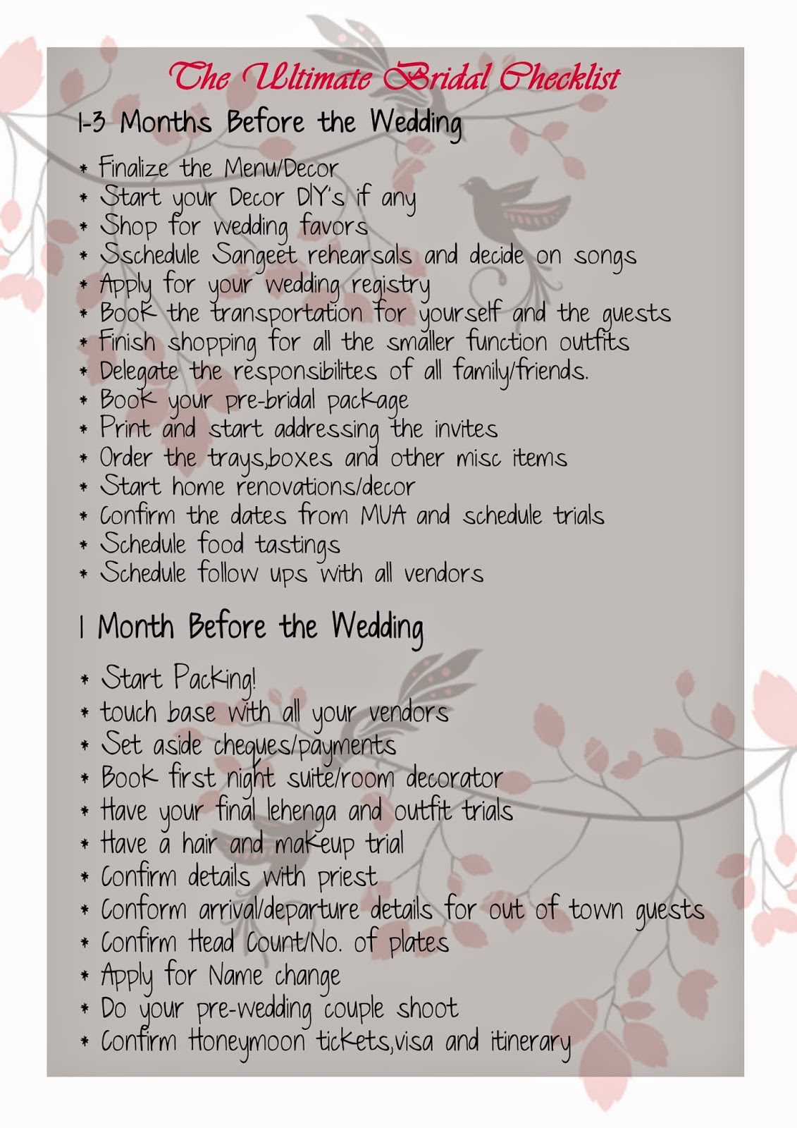 the ultimate checklist for the indian bride krazy