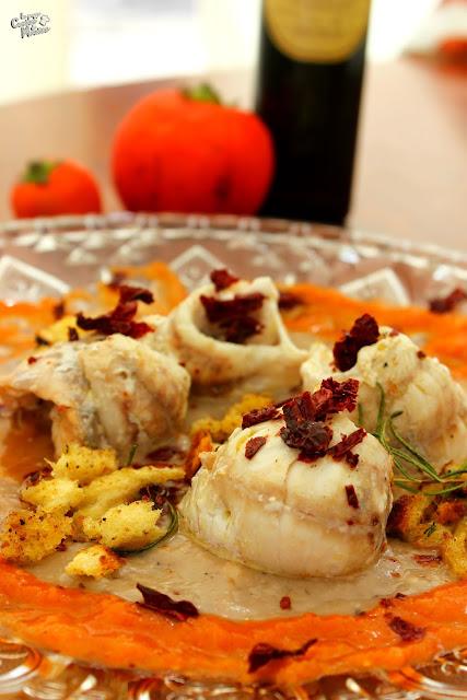 la basilicata in un piatto - involtini di gallinella su passatina di fagioli e crema di melanzana rossa.
