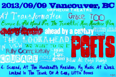 2013/09/09 Vancouver, BC Tragically Hip Setlist Art