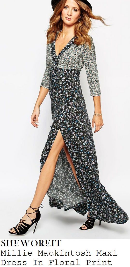 rochelle-humes-black-blue-white-grey-floral-print-maxi-dress