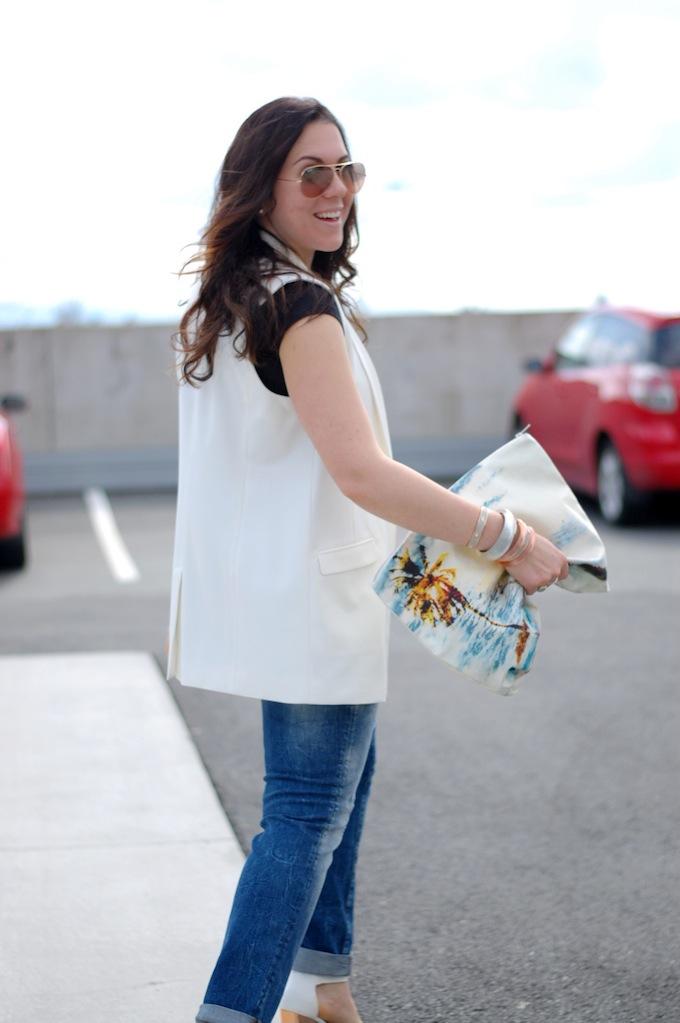 Mavi Emma boyfriend jeans, Mango vest and a 424 Fifth paradise clutch Vancouver blogger Covet and Acquire