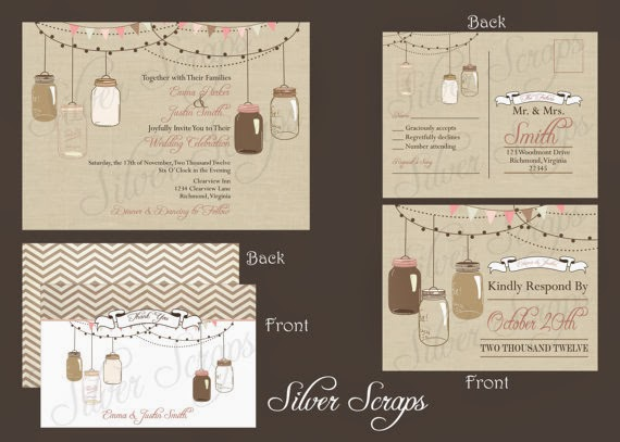 vintage hanging mason jar wedding invitation suite with RSVP and thank you card