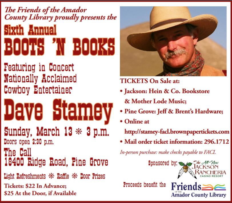 """""""Boots & Books"""" with Dave Stamey- Mar 13"""