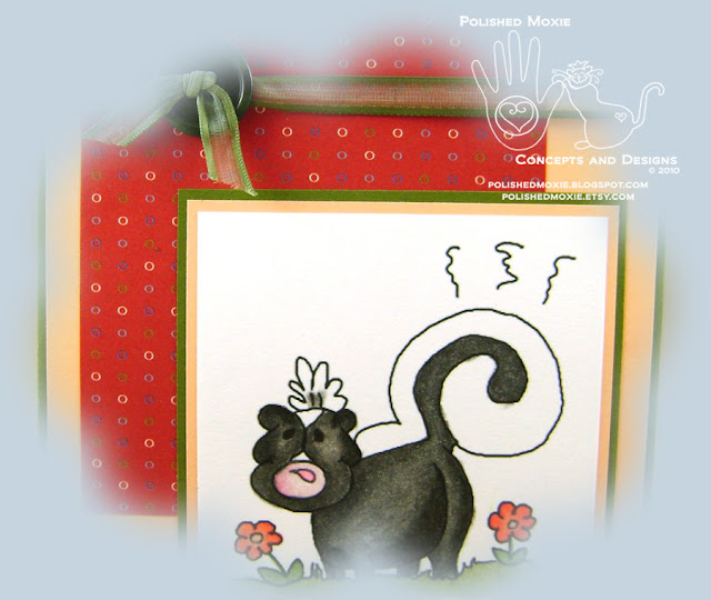 Picture of a section of the front image on the Stinking Birthday Skunk Card