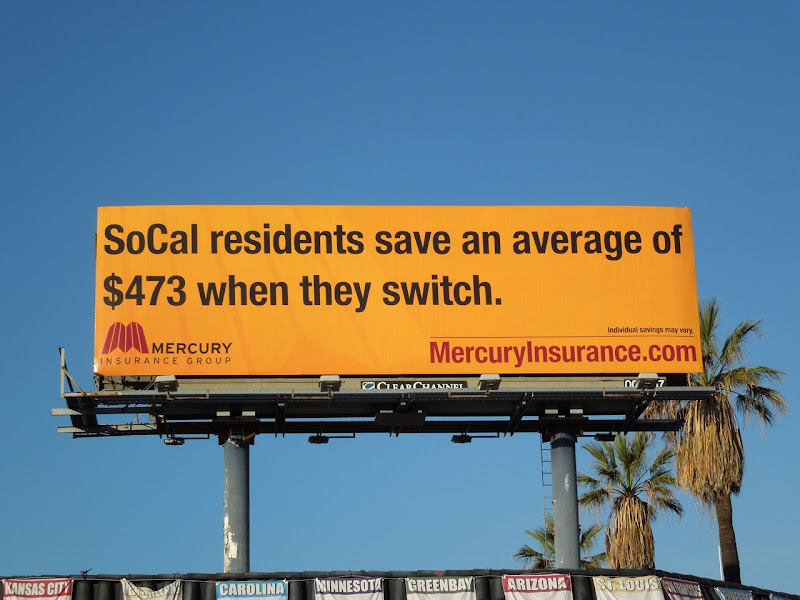 Mercury Insurance switch save billboard