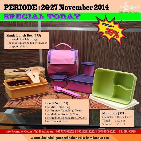 Special Today, Promo Diskon 30%, Promo Hari Ini Tulipware Tupperware November 2014