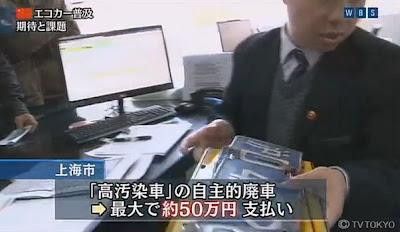 大気汚染対策 中国 上海 廃車補助金 排気ガス