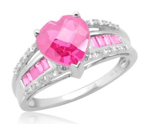 Pink Heart Shaped Diamond Rings