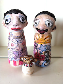 wood peg sculpted clay painted art doll tattoo circus sideshow