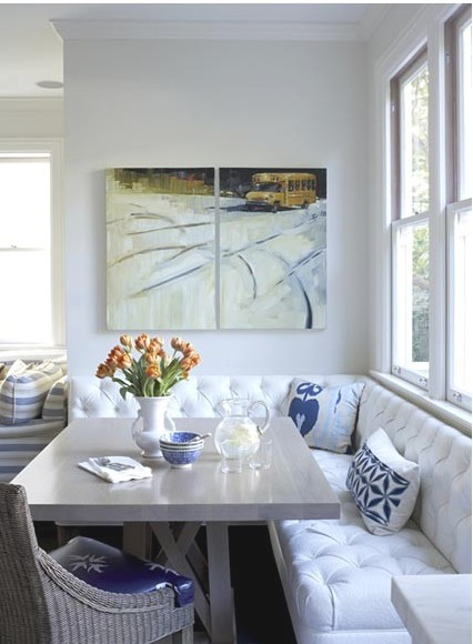 white breakfast nook