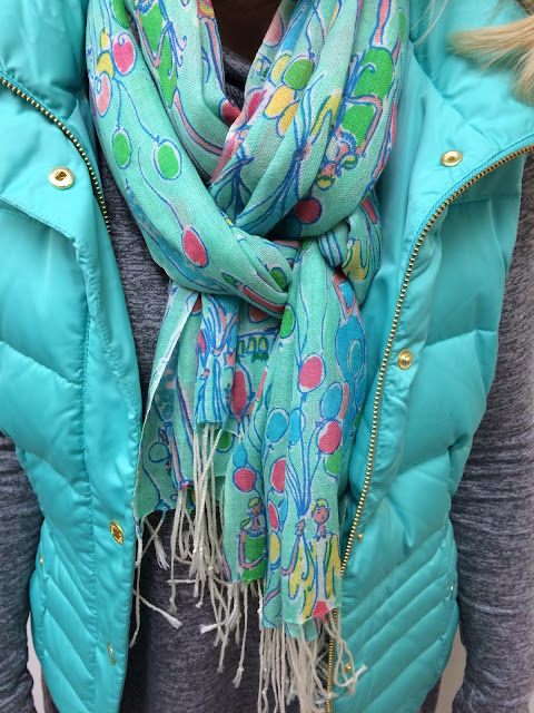 lilly pulitzer isabelle vest green sheen murfee scarf pop maryland blogger
