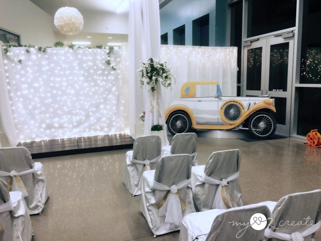 Wedding chapel and car cut out for selfies